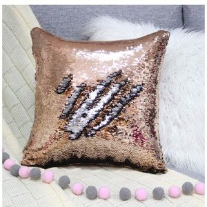 Other - Sequin pillow cover champagne pink and silver